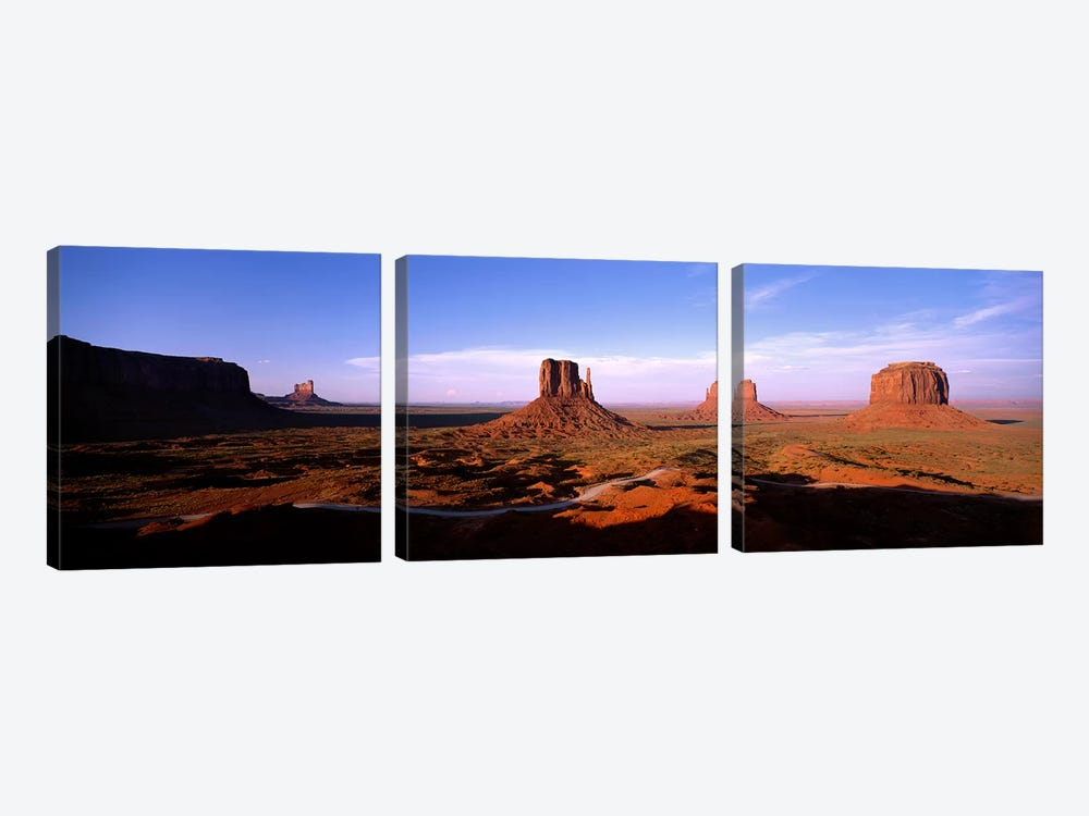 Daytime Shadows Near The Mittens & Merrick Butte, Monument Valley, Navajo Nation, Arizona, USA by Panoramic Images 3-piece Canvas Artwork