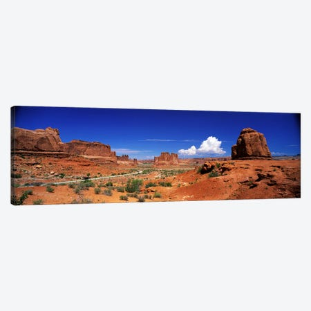 Entrance View, Arches National Park, Grand County, Utah, USA 3-Piece Canvas #PIM3889} by Panoramic Images Canvas Wall Art