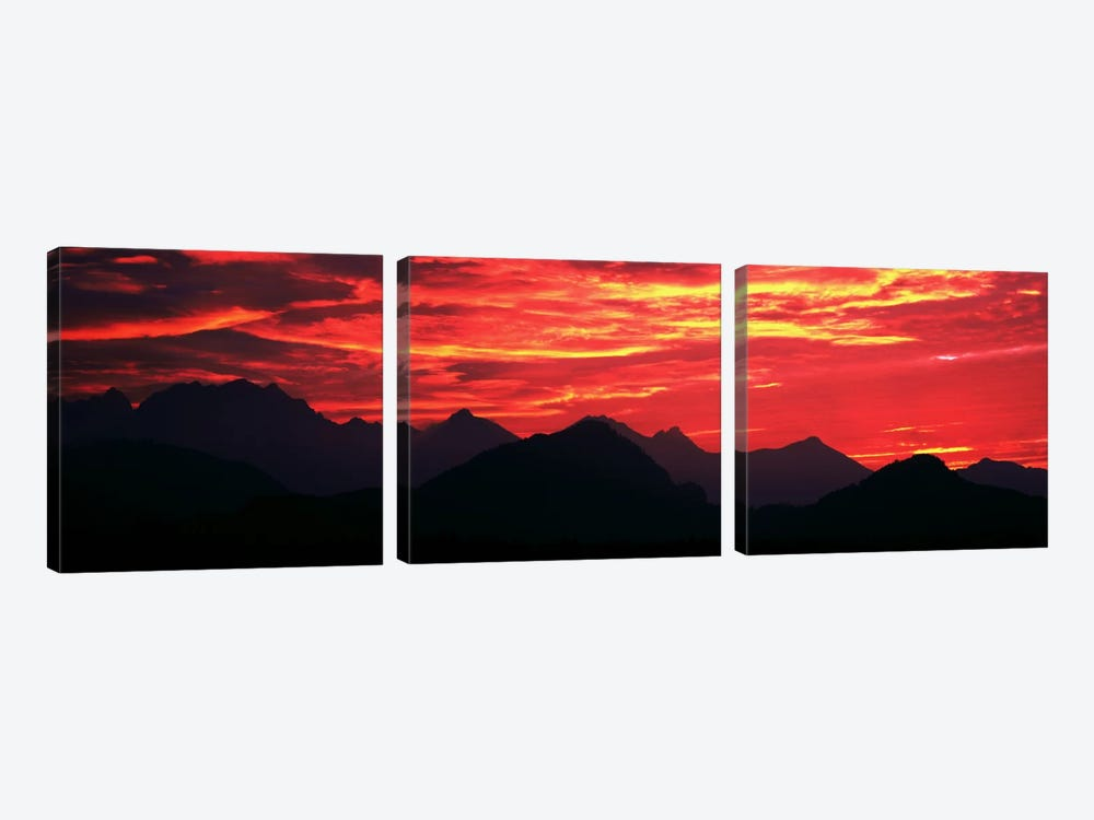 Sundown Austrian Mts South Bavaria Germany by Panoramic Images 3-piece Canvas Wall Art