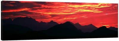 Sundown Austrian Mts South Bavaria Germany Canvas Art Print