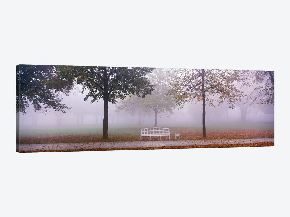 Trees and Bench in Fog Schleissheim Germany by Panoramic Images 1-piece Canvas Art