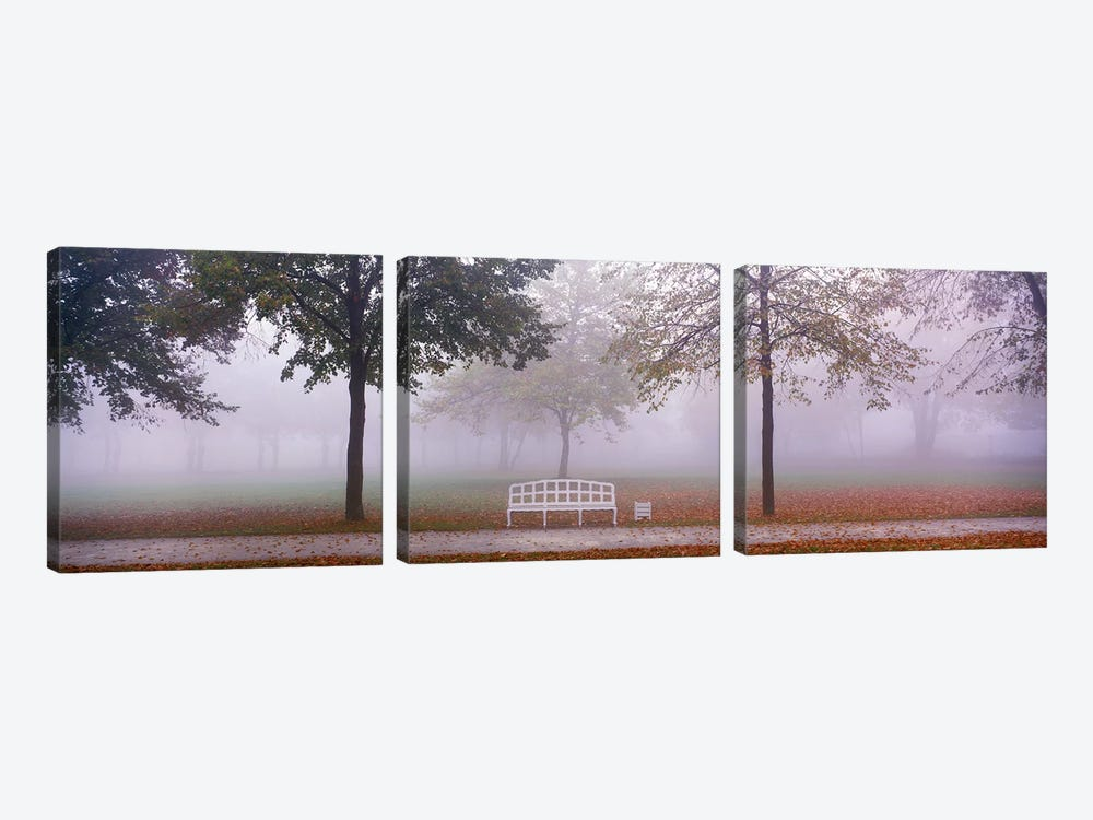 Trees and Bench in Fog Schleissheim Germany by Panoramic Images 3-piece Canvas Art