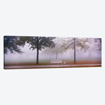 Trees and Bench in Fog Schleissheim Germany 3-Piece Canvas #PIM3902} by Panoramic Images Canvas Print