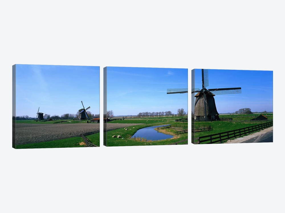 Windmills near Alkmaar Holland (Netherlands) by Panoramic Images 3-piece Canvas Art
