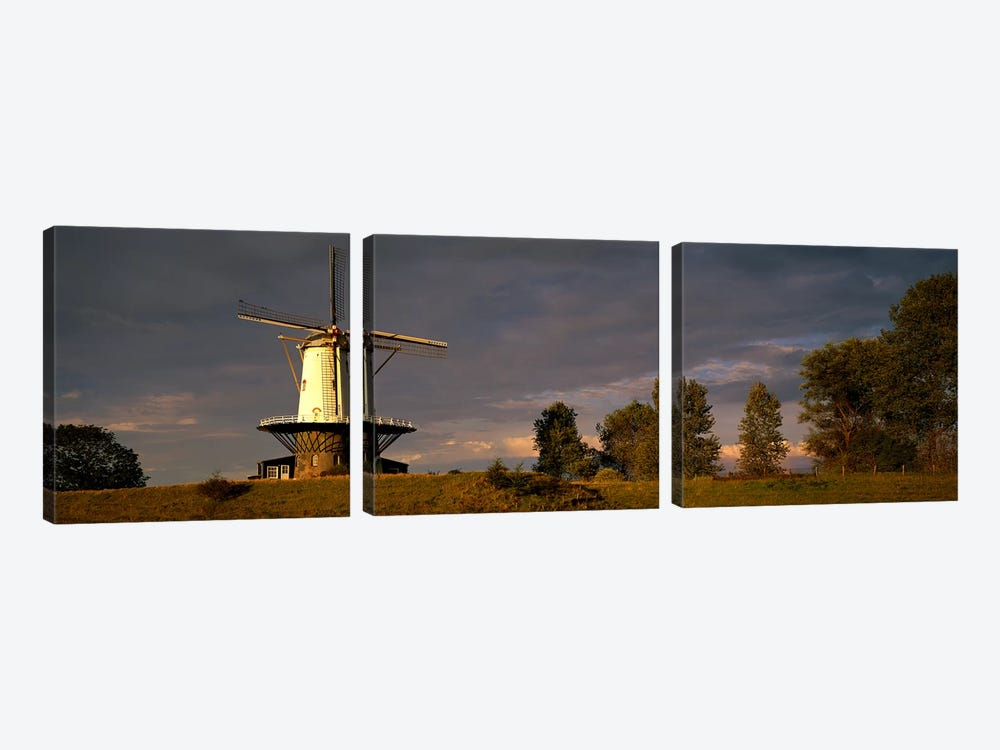 Windmill Veere Nordbeveland The Netherlands by Panoramic Images 3-piece Canvas Wall Art