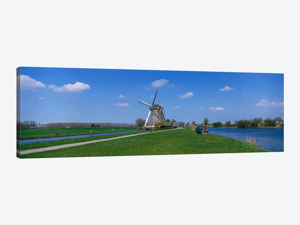 Windmill and Canals near Leiden The Netherlands 1-piece Canvas Art Print