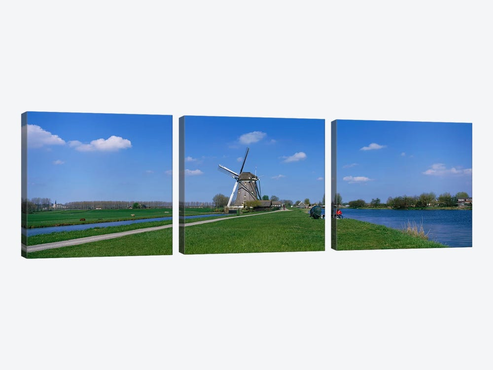 Windmill and Canals near Leiden The Netherlands by Panoramic Images 3-piece Canvas Print