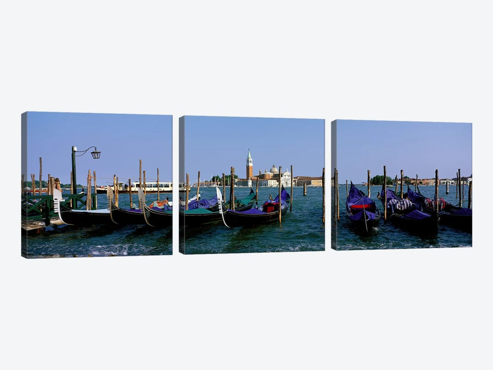 Church of San Giorgio Maggiore and Gondolas Venice Italy by Panoramic Images 3-piece Canvas Art