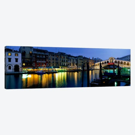 Grand Canal and Rialto Bridge Venice Italy Canvas Print #PIM3926} by Panoramic Images Canvas Artwork