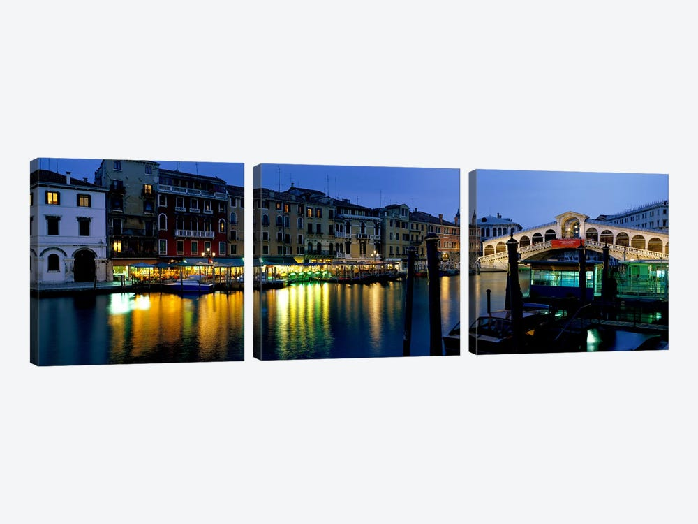 Grand Canal and Rialto Bridge Venice Italy by Panoramic Images 3-piece Canvas Art