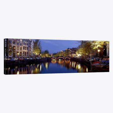 Night View Along Canal Amsterdam The Netherlands Canvas Print #PIM3927} by Panoramic Images Canvas Wall Art
