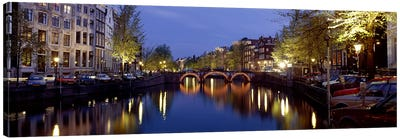 Night View Along Canal Amsterdam The Netherlands Canvas Art Print