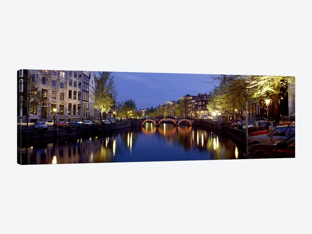 Night View Along Canal Amsterdam The Netherlands by Panoramic Images 1-piece Art Print