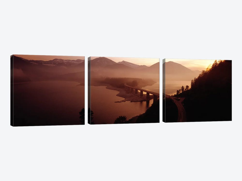 Sylvenstein Lake with Bridge Bavaria Germany by Panoramic Images 3-piece Canvas Wall Art