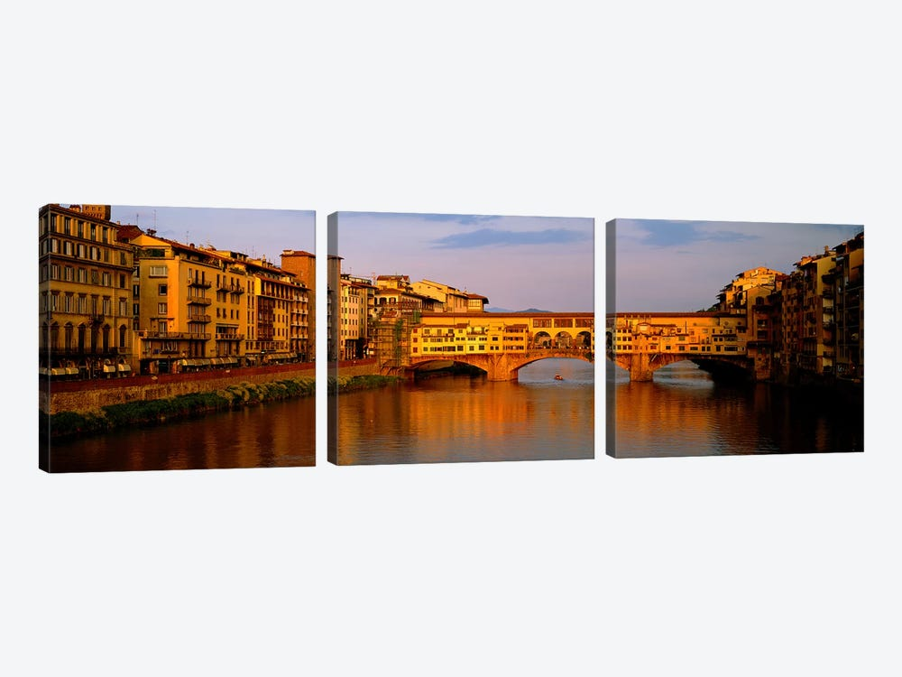 Ponte Vecchio Arno River Florence Italy by Panoramic Images 3-piece Canvas Art