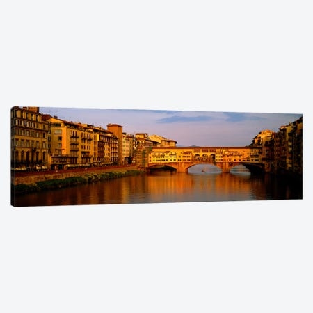 Ponte Vecchio Arno River Florence Italy 3-Piece Canvas #PIM3933} by Panoramic Images Canvas Wall Art
