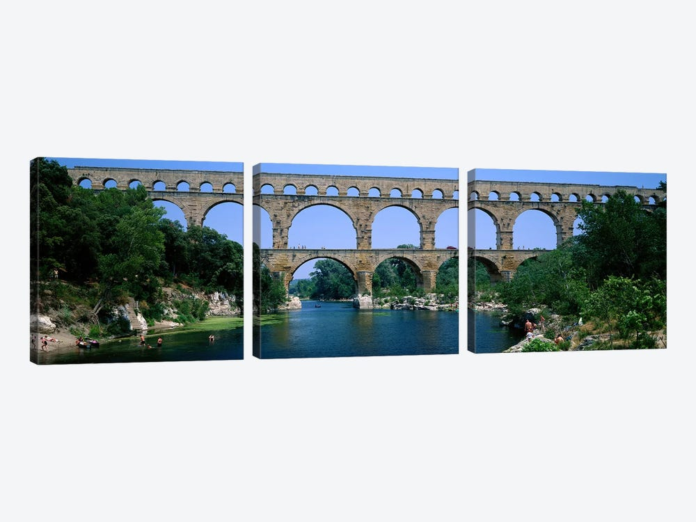 Pont du Gard Roman Aqueduct Provence France by Panoramic Images 3-piece Canvas Print