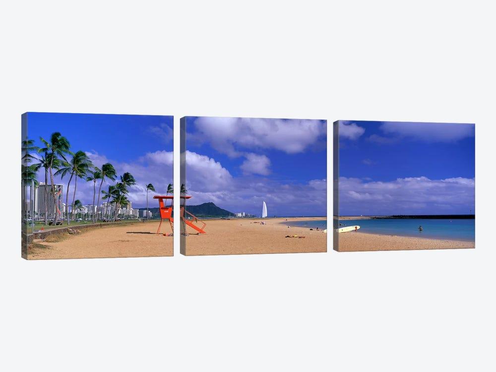 Ala Moana Beach Honolulu HI by Panoramic Images 3-piece Canvas Artwork