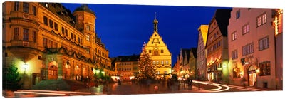 Nighttime At Christmas, Marktplatz, Rothenburg ob der Tauber, Bavaria, Germany Canvas Art Print