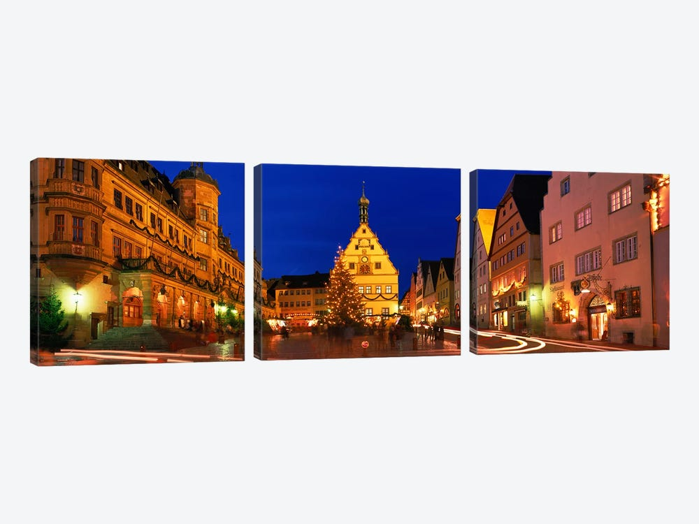 Nighttime At Christmas, Marktplatz, Rothenburg ob der Tauber, Bavaria, Germany by Panoramic Images 3-piece Art Print