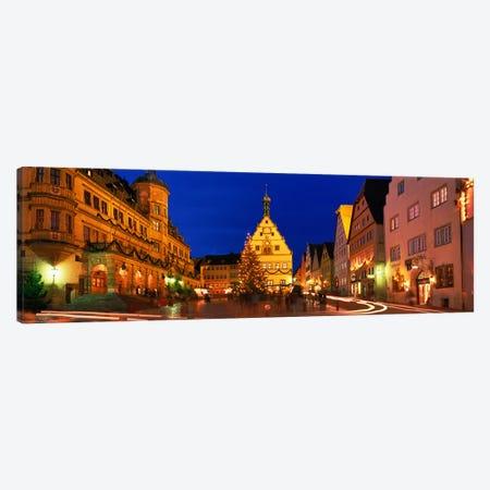 Nighttime At Christmas, Marktplatz, Rothenburg ob der Tauber, Bavaria, Germany 3-Piece Canvas #PIM3949} by Panoramic Images Canvas Print