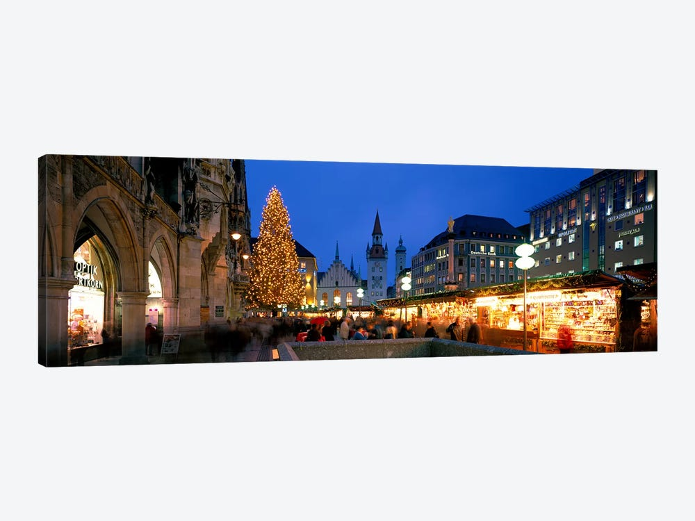 Nighttime At Christmas, Marienplatz, Munich, Bavaria, Germany by Panoramic Images 1-piece Canvas Art Print