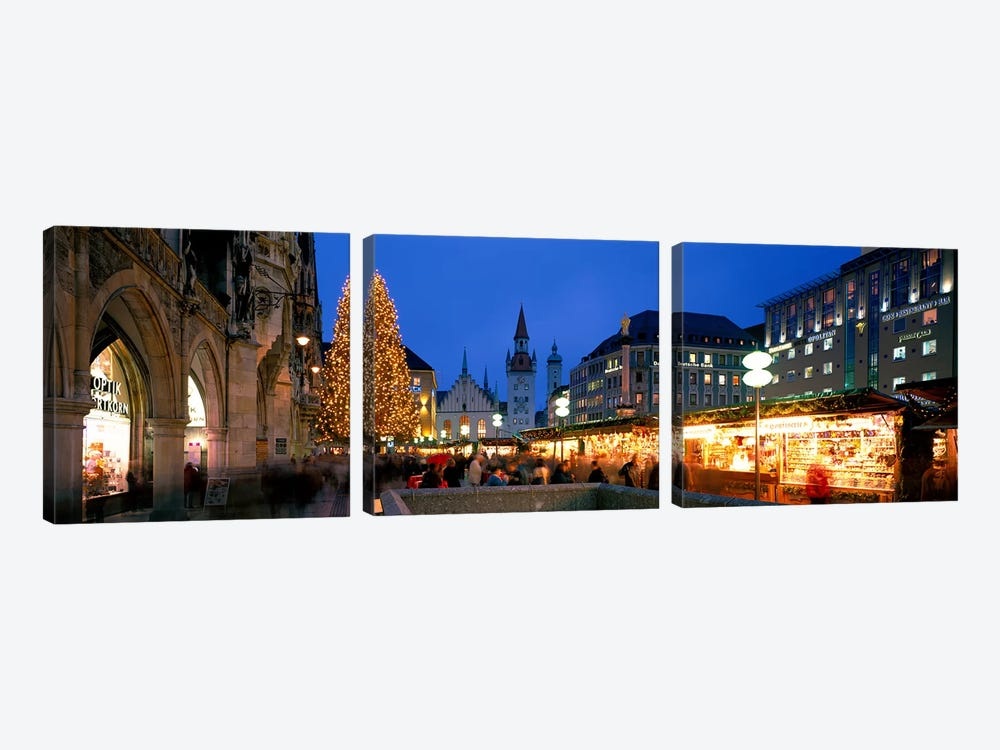 Nighttime At Christmas, Marienplatz, Munich, Bavaria, Germany by Panoramic Images 3-piece Canvas Art Print
