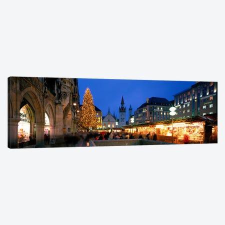 Nighttime At Christmas, Marienplatz, Munich, Bavaria, Germany 3-Piece Canvas #PIM3950} by Panoramic Images Canvas Wall Art