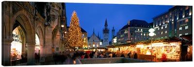 Nighttime At Christmas, Marienplatz, Munich, Bavaria, Germany Canvas Art Print