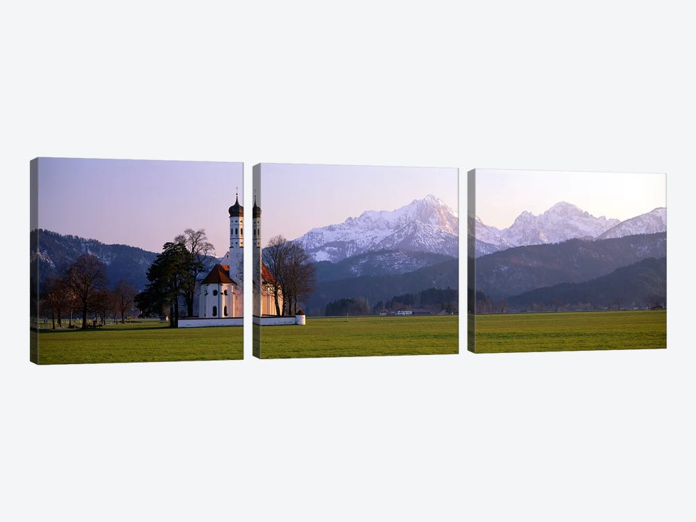 St Coloman Church and Alps Schwangau Bavaria Germany by Panoramic Images 3-piece Canvas Print
