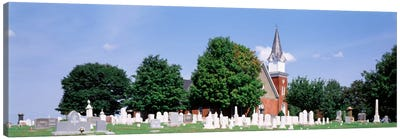 Cemetery in front of a church, Clynmalira Methodist Cemetery, Baltimore, Maryland, USA Canvas Print #PIM395