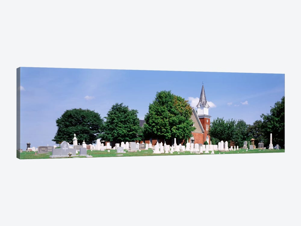 Cemetery in front of a church, Clynmalira Methodist Cemetery, Baltimore, Maryland, USA by Panoramic Images 1-piece Canvas Art
