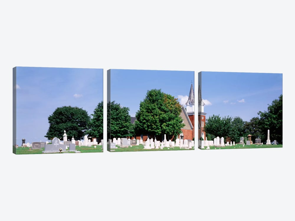 Cemetery in front of a church, Clynmalira Methodist Cemetery, Baltimore, Maryland, USA by Panoramic Images 3-piece Canvas Wall Art