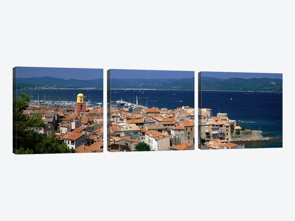 High-Angle View Of Coastal Landscape, Saint-Tropez, Provence-Alpes-Cote d'Azur, France 3-piece Canvas Art Print