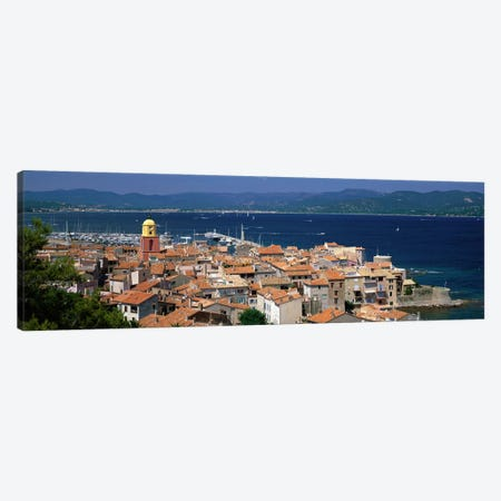 High-Angle View Of Coastal Landscape, Saint-Tropez, Provence-Alpes-Cote d'Azur, France 3-Piece Canvas #PIM3970} by Panoramic Images Canvas Artwork
