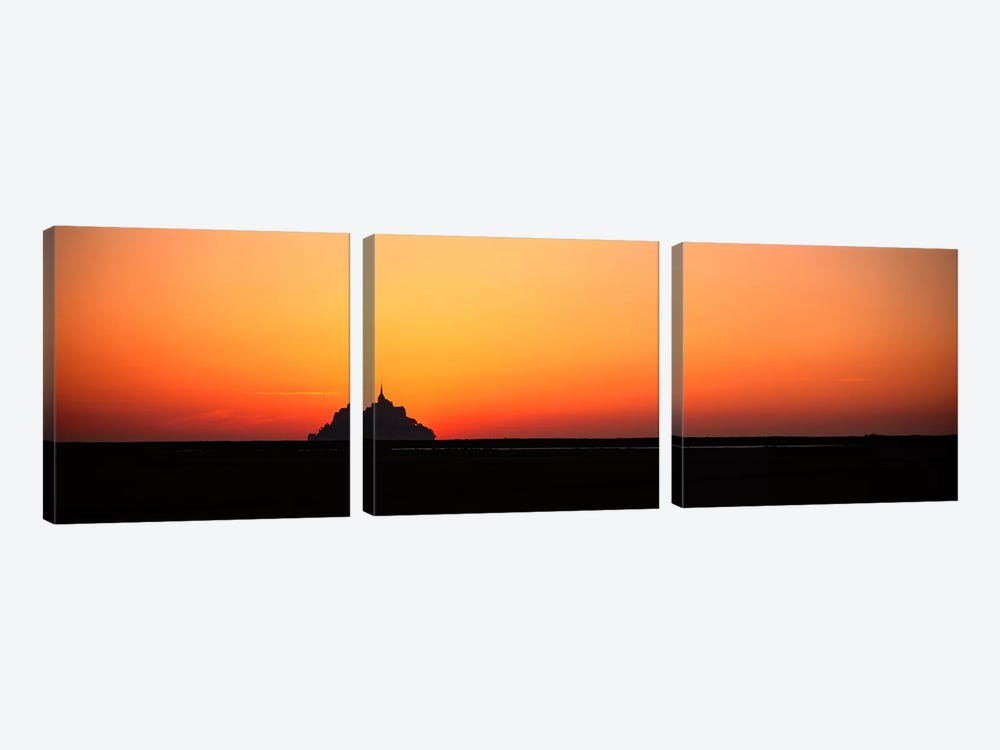 Sunset at Mont Saint Michel Normandy France 3-piece Canvas Art