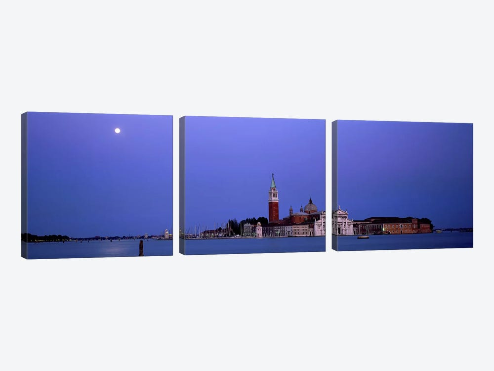 Moon over San Giorgio Maggiore Church Venice Italy by Panoramic Images 3-piece Canvas Wall Art