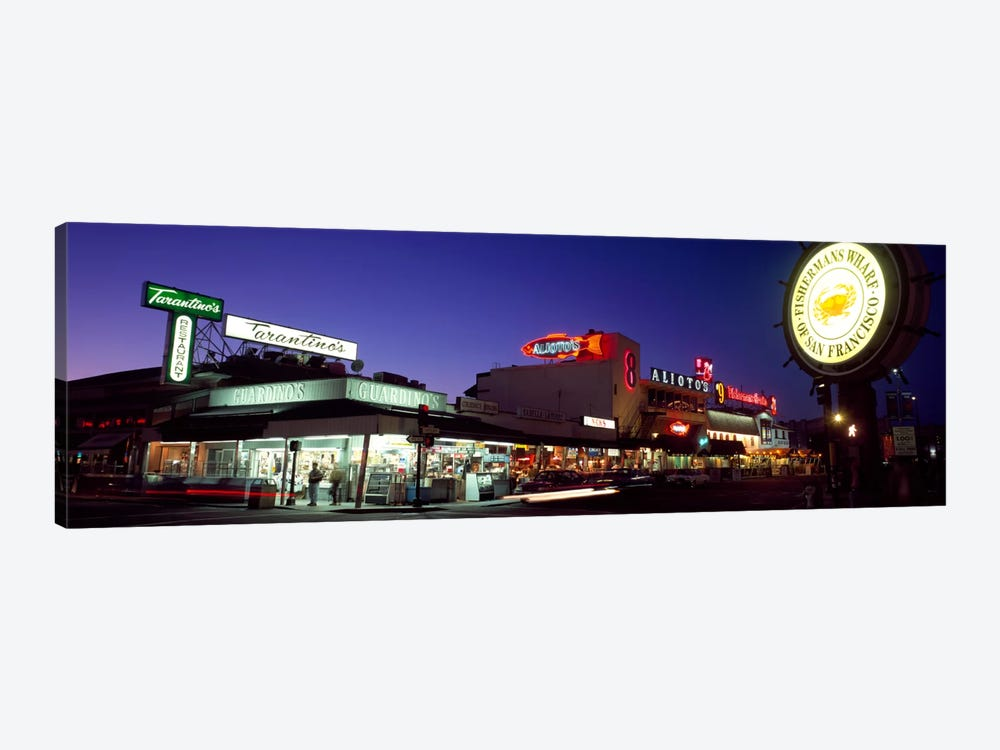 Tourists at a restaurant, Fisherman's Wharf, San Francisco, California, USA by Panoramic Images 1-piece Canvas Art Print