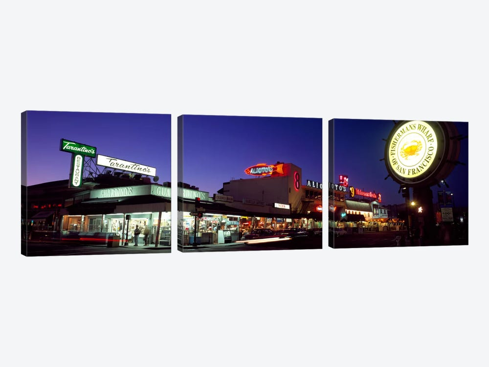 Tourists at a restaurant, Fisherman's Wharf, San Francisco, California, USA by Panoramic Images 3-piece Canvas Print