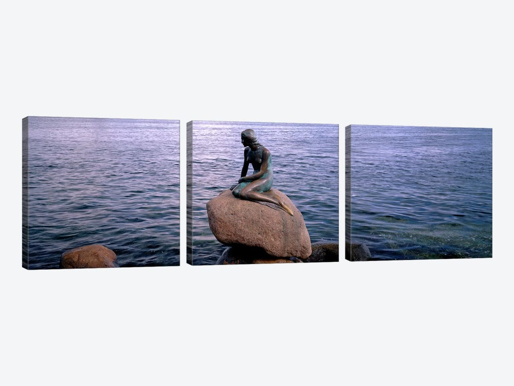 Little Mermaid Statue on Waterfront Copenhagen Denmark by Panoramic Images 3-piece Canvas Artwork