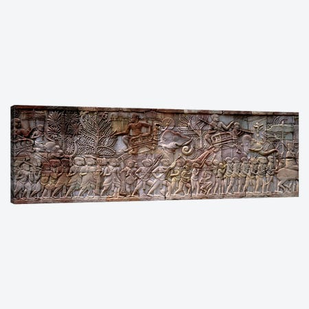 Bas Relief Angkor Wat Cambodia Canvas Print #PIM3998} by Panoramic Images Canvas Art