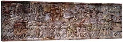 Bas Relief Angkor Wat Cambodia Canvas Print #PIM3998