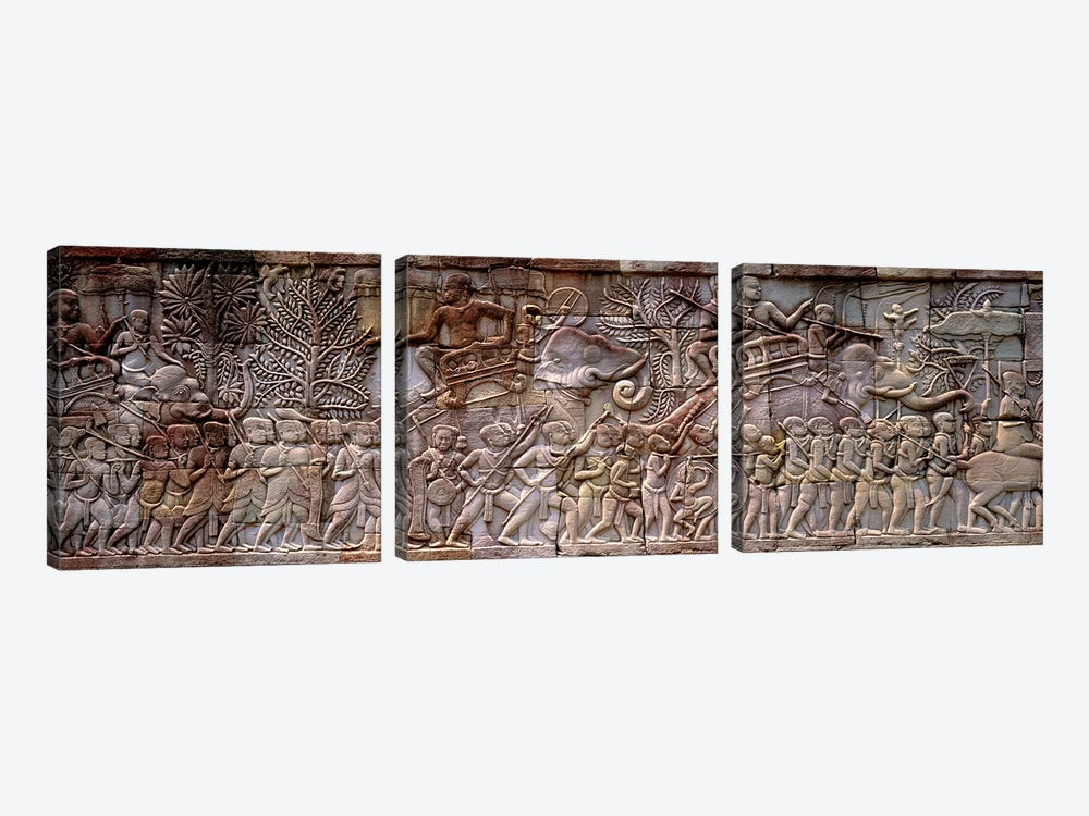 Bas Relief Angkor Wat Cambodia by Panoramic Images 3-piece Canvas Print