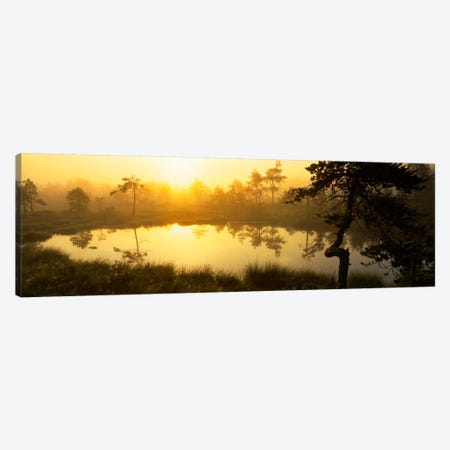 Foggy Woodland Sunrise And It's Reflection, Vastmanland, Sweden Canvas Print #PIM399} by Panoramic Images Canvas Art