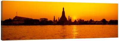 Sunset's Orange Glow Over Wat Arun And The Chao Phraya River, Bangkok, Thailand Canvas Art Print