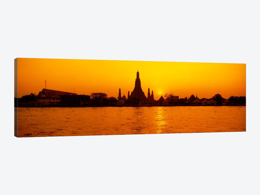 Sunset's Orange Glow Over Wat Arun And The Chao Phraya River, Bangkok, Thailand by Panoramic Images 1-piece Canvas Artwork