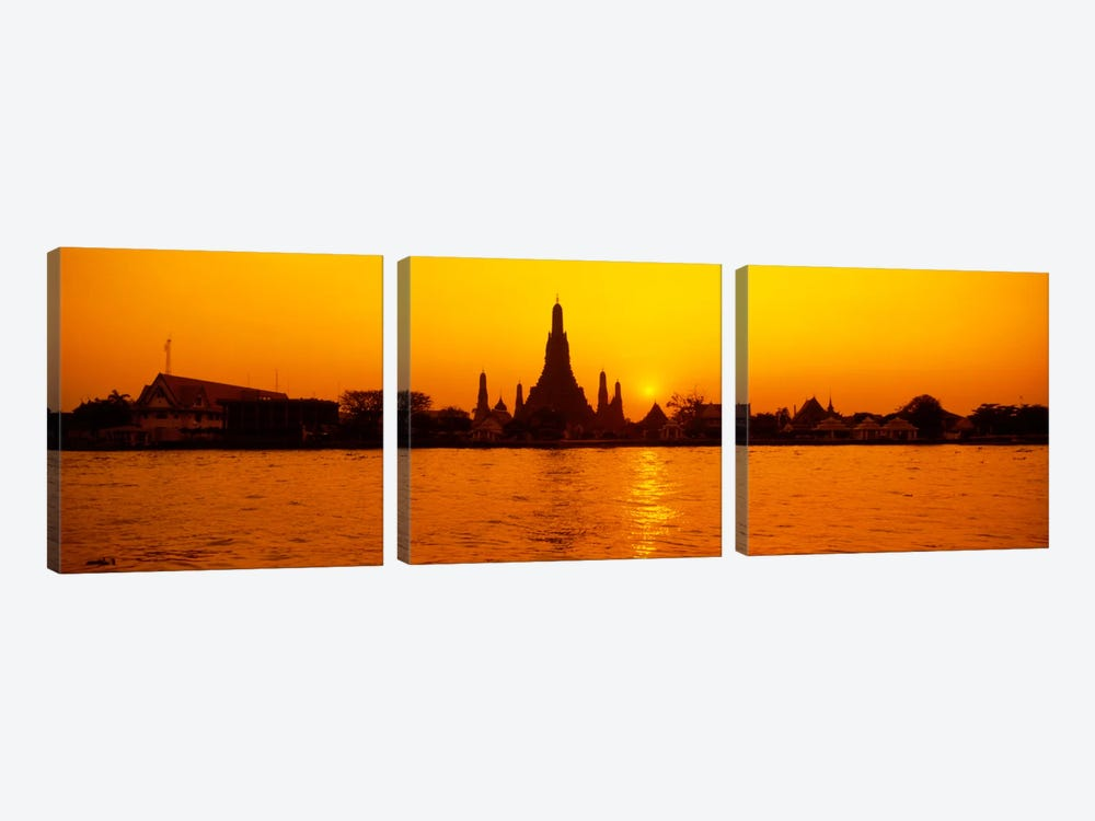 Sunset's Orange Glow Over Wat Arun And The Chao Phraya River, Bangkok, Thailand by Panoramic Images 3-piece Canvas Art