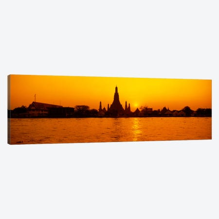 Sunset's Orange Glow Over Wat Arun And The Chao Phraya River, Bangkok, Thailand 3-Piece Canvas #PIM39} by Panoramic Images Canvas Art Print