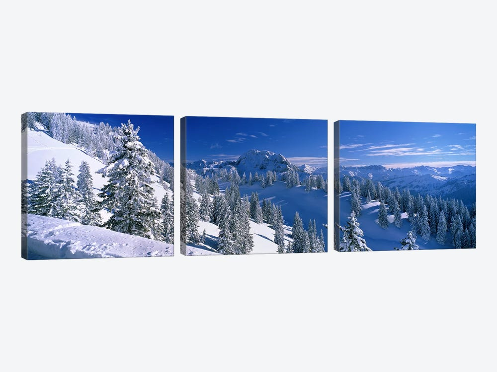 Wintry Mountain Landscape, Bavarian Alps, Bavaria, Germany 3-piece Canvas Art