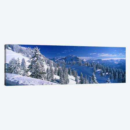 Wintry Mountain Landscape, Bavarian Alps, Bavaria, Germany Canvas Print #PIM4002} by Panoramic Images Art Print